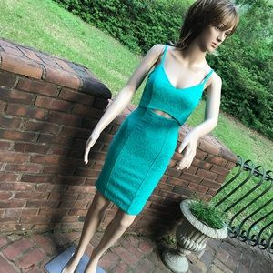 XOXO jungle oasis 0 jacquard green stretch dress